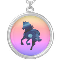 Blue Horse  Silver Plated Round Necklace