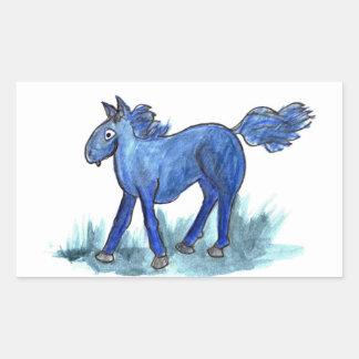 Blue Horse - whimsical Watercolor Rectangular Sticker