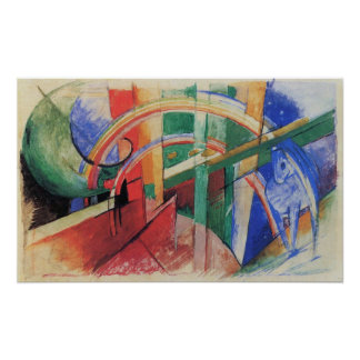 Blue Horse with Rainbow by Franz Marc, Vintage Art Poster