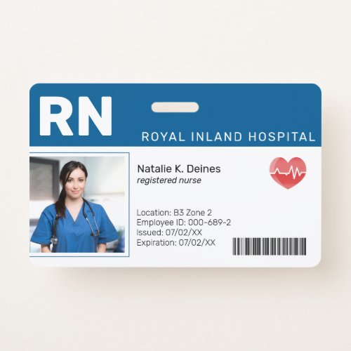 Blue   Hospital Medical Employee Photo ID Badge