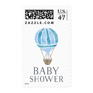 Blue Hot Air Balloon Baby Shower Postage