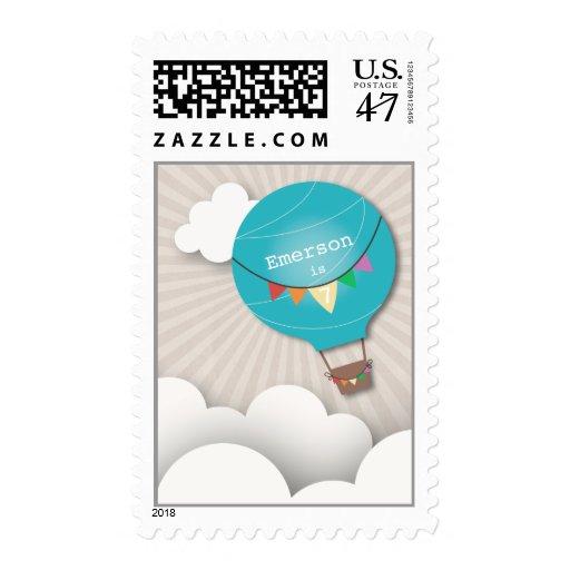 Blue Hot Air Balloon Birthday Postage