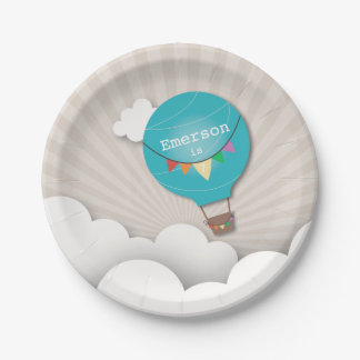 Blue Hot Air Balloon Birthday 7 Inch Paper Plate