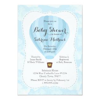 Blue Hot Air Balloon Boy Baby Shower Card