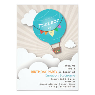 Blue Hot Air Balloon & Clouds Kids' Birthday 5x7 Paper Invitation Card