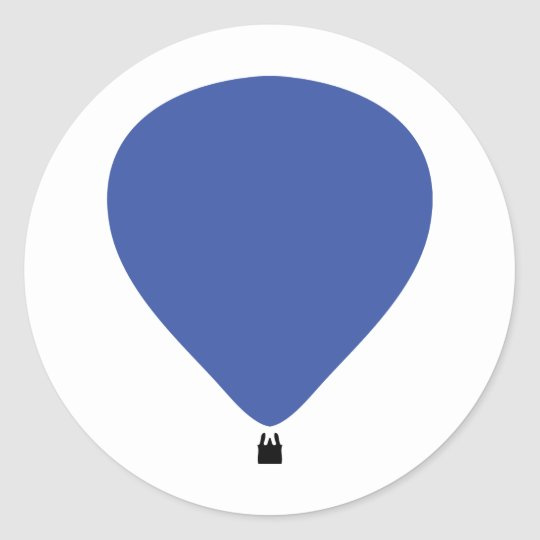 blue hot-air balloon icon classic round sticker