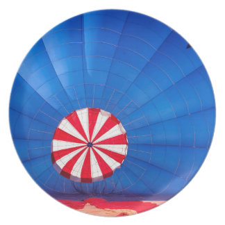 Blue Hot Air Balloon Inflating On The Ground Dinner Plate