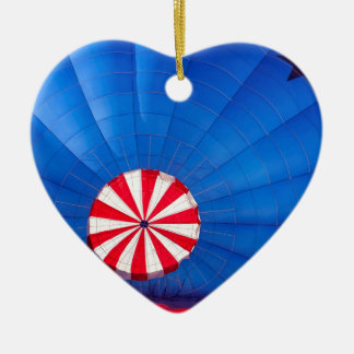 Blue Hot Air Balloon Inflating On The Ground Double-Sided Heart Ceramic Christmas Ornament