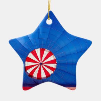 Blue Hot Air Balloon Inflating On The Ground Double-Sided Star Ceramic Christmas Ornament