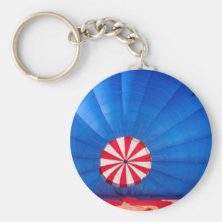 Blue Hot Air Balloon Inflating On The Ground Keychain