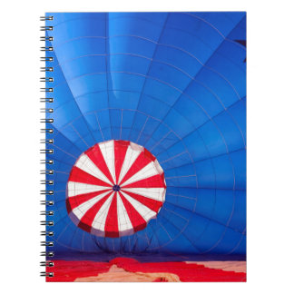 Blue Hot Air Balloon Inflating On The Ground Notebook