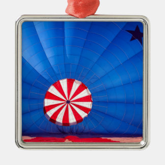 Blue Hot Air Balloon Inflating On The Ground Square Metal Christmas Ornament
