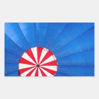Blue Hot Air Balloon Inflating On The Ground Rectangular Sticker