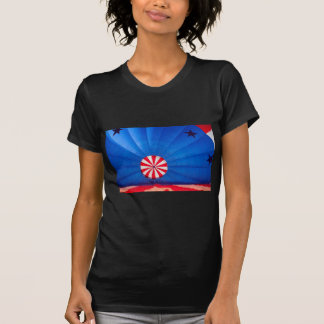 Blue Hot Air Balloon Inflating On The Ground T-Shirt