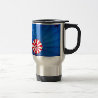 Blue Hot Air Balloon Inflating On The Ground Travel Mug