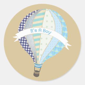 Blue Hot Air Balloon It's A Boy Sticker