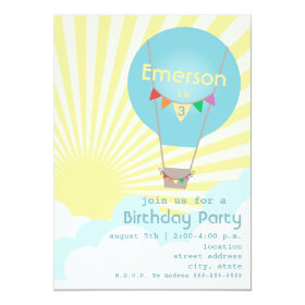 Blue Hot Air Balloon Kids Birthday Party 5x7 Paper Invitation Card