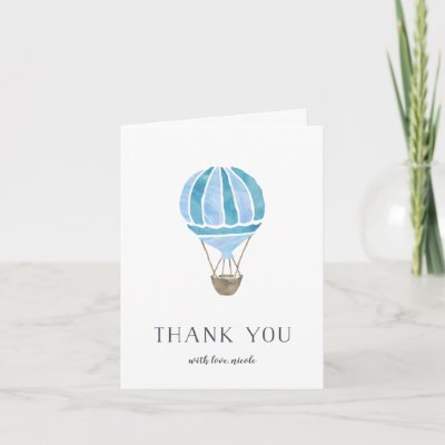 Hot Air Blue Yellow Balloon Thank You Note Card Zazzle Com