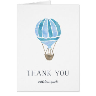 Blue Hot Air Balloon Personalized Thank You Card