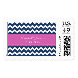 Blue Hot Pink Chevron Bride and Groom Wedding Postage