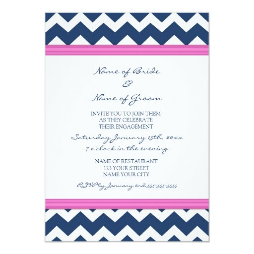 Blue Hot Pink Chevron Engagement Party Invitations