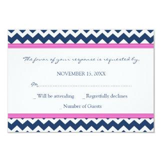 Blue Hot Pink Chevron RSVP Wedding Card
