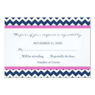 Blue Hot Pink Chevron RSVP Wedding Card Personalized Announcement
