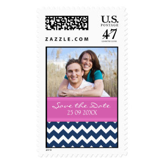 Blue Hot Pink Chevron Save the Date Wedding Stamps