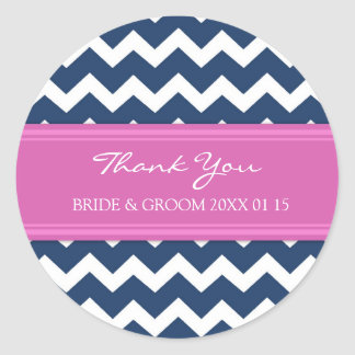 Blue Hot Pink Chevron Thank You Wedding Favor Tags Classic Round Sticker
