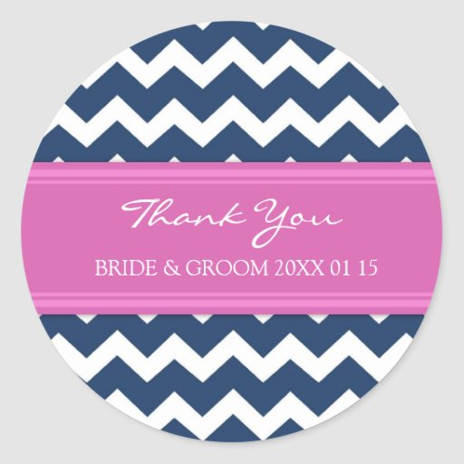 Blue Hot Pink Chevron Thank You Wedding Favor Tags Round Stickers