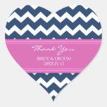 Blue Hot Pink Chevron Thank You Wedding Favor Tags Sticker