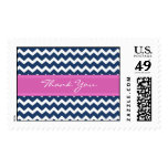 Blue Hot Pink Chevron Thank You  Wedding Stamps