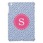 Blue & Hot Pink Greek Key Custom Monogram iPad Mini Case