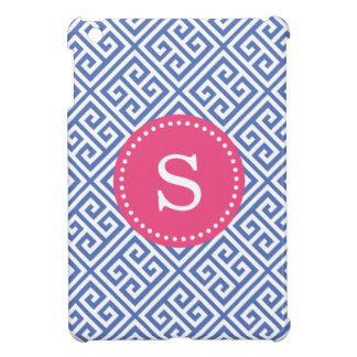 Blue & Hot Pink Greek Key Custom Monogram iPad Mini Case