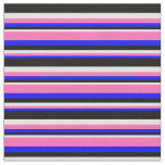 [ Thumbnail: Blue, Hot Pink, Light Cyan & Black Colored Lines Fabric ]