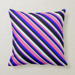 [ Thumbnail: Blue, Hot Pink, Light Cyan & Black Colored Lines Throw Pillow ]