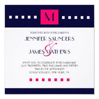 "Blue Hot Pink Monogram Modern Wedding Invitation 5.25"" Square Invitation Card"