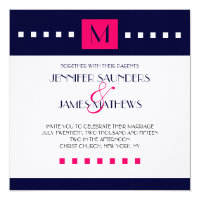 Blue Hot Pink Monogram Modern Wedding Invitation
