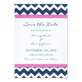 Blue Hot Pink Wedding Save the Date Card