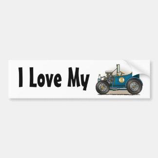 Blue Hot Rod Car I Love My Bumper Sticker Car Bumper Sticker