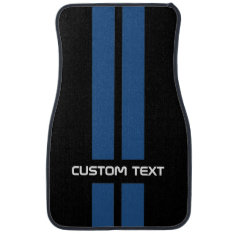 Blue Hot Rod Stripes Car Mats - With Custom Text at Zazzle