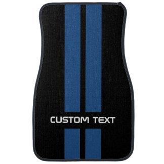 Blue Hot Rod Stripes Car Mats - with custom text Floor Mat