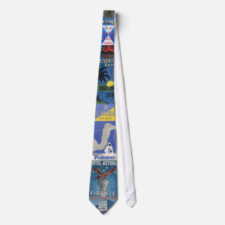 Blue Hotel Luggage Label Tie Spans the world