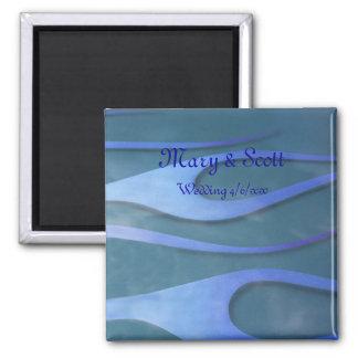 Blue Hotrod flames wedding magnet