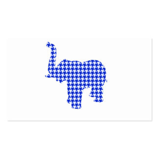 Blue Houndstooth Elephant Business Card Template