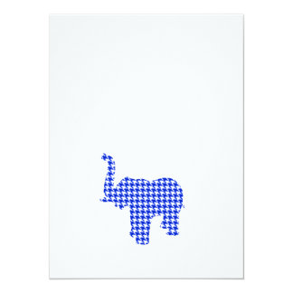 Blue Houndstooth Elephant Card