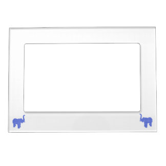Blue Houndstooth Elephant Magnetic Picture Frame