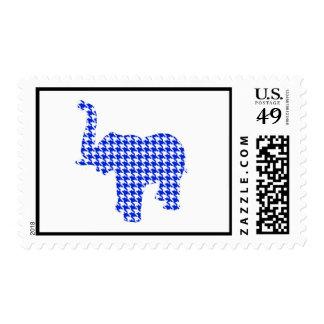 Blue Houndstooth Elephant Stamp