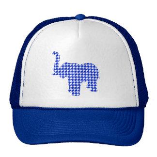 Blue Houndstooth Elephant Trucker Hat