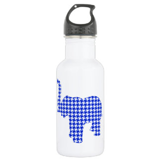 Blue Houndstooth Elephant Water Bottle